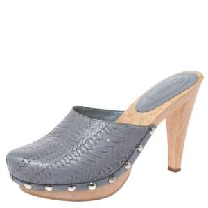 Miu Miu Grey Leather Studded Platform Clogs Size 40