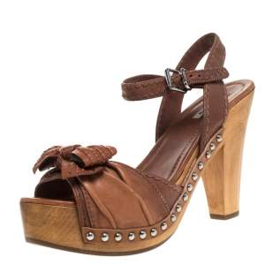Miu Miu Brown Leather Bow Studded Platform Ankle Strap Sandals Size 40