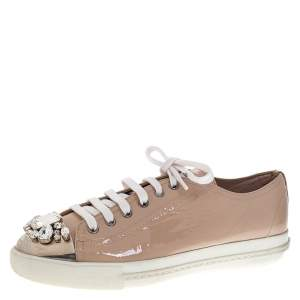 Miu Miu Beige Patent Leather Crystal Embellished Cap Toe Lace Up Sneakers Size 39.5