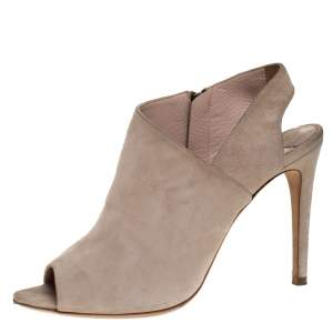 Miu Miu Beige Suede Leather Peep Toe Slingback Sandals Size 38.5