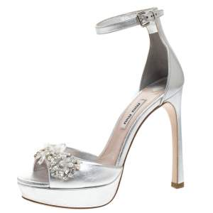 Miu Miu Silver Leather Crystal Embellished Platform Ankle Strap Sandals Size 36