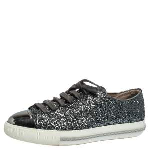 Miu Miu Metallic Grey Glitter And Metal Cap Toe Low Top Sneakers Size 37