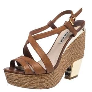 Miu Miu Brown Leather Espadrilles Wedge Platform Cross Strap Sandals Size 38