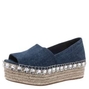 Miu Miu Indigo Dark Wash Denim Crystal Embellished Peep Toe Platform Espadrilles Size 35