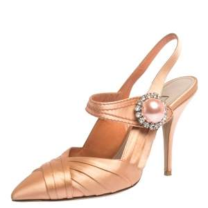Miu Miu Peach Pleated Satin Crystal Embellished Pointed Toe Slingback Sandals Size 37.5