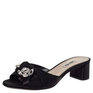 Miu Miu Black Satin Crystal Embellished Open Toe Sandals Size 39.5