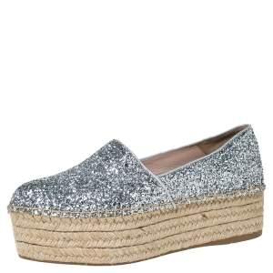 Miu Miu Silver Glitter Fabric Platform Espadrilles Size 37.5