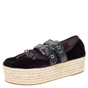 Miu Miu Purple Velvet And Black Double Leather Strap Bow Ballet Platform Espadrilles Size 38
