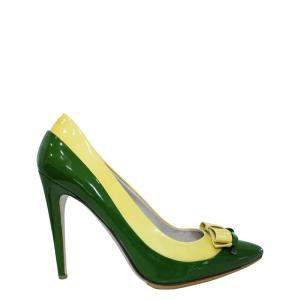 Miu Miu Green and Yellow Patent leather Pumps Size 38