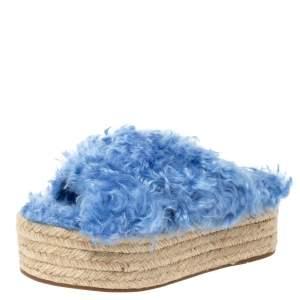 Miu Miu Blue Faux Fur Flat Platform Espadrille Sandals Size 36