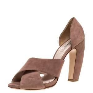 Miu Miu Pink Suede Cross Strap D'orsay Sandals Size 39.5