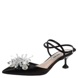 Miu Miu Black Satin Crystal Embellished Ankle Strap Sandals Size 36.5