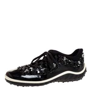 Miu Miu Black/White Fabric and Patent Leather Embellished Astro Sneakers Size 38.5