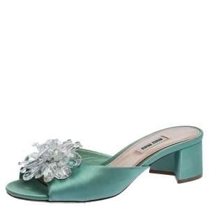 Miu Miu Pista Green Satin Crystal Embellished Slide Mules Size 37
