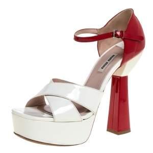 Miu Miu White/Red Patent Leather Platform Cross Strap Sandals Size 38
