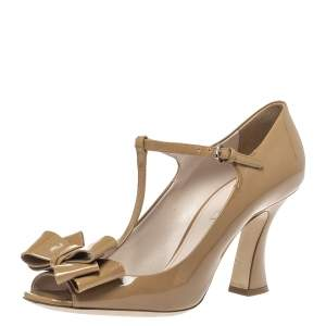 Miu Miu Brown Patent Leather T Strap Bow Ankle Strap Sandals Size 41