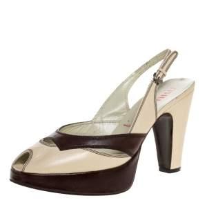Miu Miu Cream/Brown Leather Peep Toe Platform Slingback Sandals Size 38.5