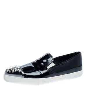 Miu Miu Black Patent Leather Crystal Embellished Cap Toe Slip On Sneakers Size 38.5