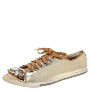 Miu Miu Gold Leather Crystal Embellished Cap Toe Sneakers Size 38