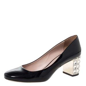 Miu Miu Black Patent Leather Crystal Embellished Block Heel Pumps Size 38