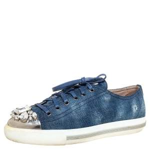 Miu Miu Blue Denim Fabric Embellished Cap Toe Sneakers Size 39.5