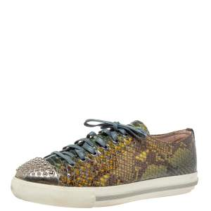 Miu Miu Green Python Print Glossy Leather Studded Cap Toe Sneakers Size 40