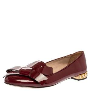 Miu Miu Burgundy Patent Leather Crystal Embellished Heel Bow Slip On Loafers Size 39