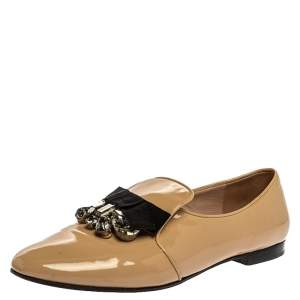 Miu Miu Beige Patent Leather Embellished Loafers Size 41