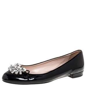 Miu Miu Black Patent Leather Crystal Embellished Ballet Flats Size 38.5