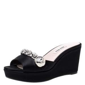 Miu Miu Black Satin Crystal Embellished Wedge Platform Open Toe Sandals Size 36