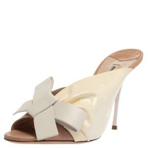 Miu Miu White/Beige Patent and Leather Bow Mule Sandals Size 41