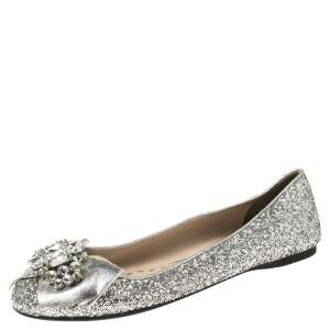 Miu Miu Silver Glitters and Leather Ballet Flats Size 37.5