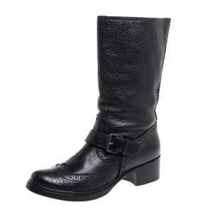 بوت ميو ميو جلد بروغي أسود بإبزيم لمنتصف الساق مقاس 38.5