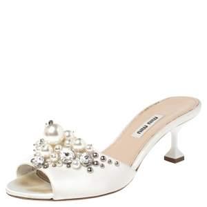 Miu Miu Cream Satin Crystal/Pearl Embellished Slide Size 35