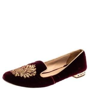 Miu Miu Burgundy Velvet Crest Embellished Smoking Slippers Size 38.5