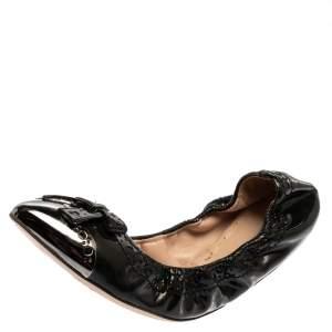 Miu Miu Green Patent Leather Scrunch Ballet  Flats Size 39.5