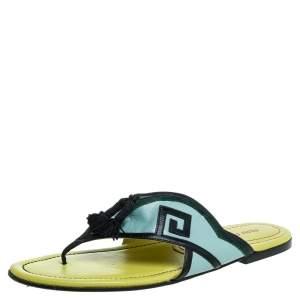Miu Miu Green/Yellow Leather Tassel Slide Flats Size 39.5