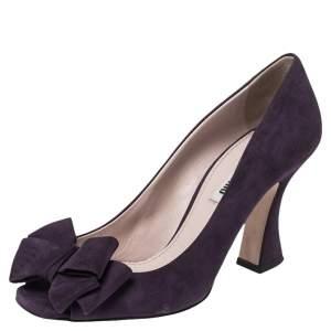 Miu Miu Burgundy Suede Bow Peep Toe Pumps Size 37