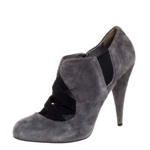 Miu Miu Grey Suede Ankle Booties Size 38