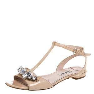 Miu Miu Beige Patent Leather Crystal Embellished T Strap Flat Sandals Size 36
