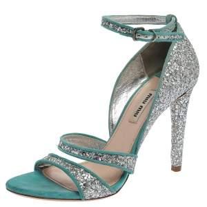 Miu Miu Silver/Blue Coarse Glitter And Suede Trims Open Toe Ankle Strap Sandals Size 38