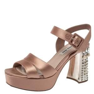 Miu Miu Pale Pink Satin Embellished Block Heel Platform Ankle Strap Sandals Size 35