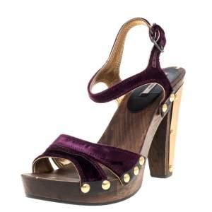 Miu Miu Purple Velvet Studded Ankle Strap Wooden Platform Sandals Size 37