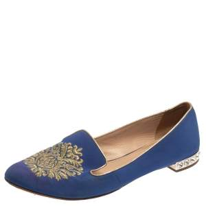 Miu Miu Blue Canvas Embroidered Crystal Studded Smoking Slippers Size 39