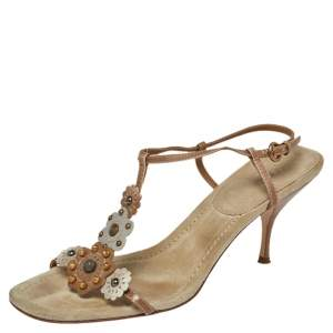 Miu Miu Leather And Suede T Strap Slingback Sandals Size39.5