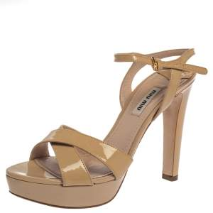 Miu Miu Beige Patent Leather Ankle Strap Platform Sandals Size 38