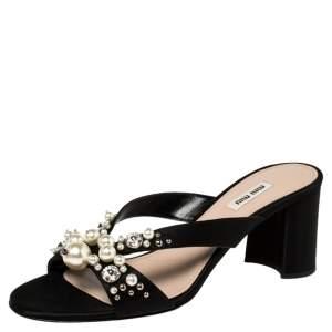 Miu Miu Black Crystal And Pearl Embellished Satin Slide Sandals Size 40.5