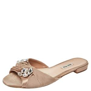 Miu Miu Beige Satin And Fabric Knot Crystal Embellished Open Toe Slide Sandals Size 39