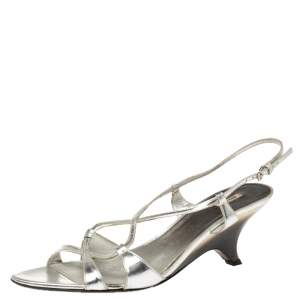 Miu Miu Silver Leather Slingback Strappy Sandals Size 39