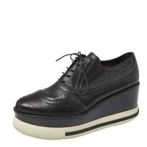 Miu Miu Black Brogue Leather Oxford Platform Sneakers Size 40